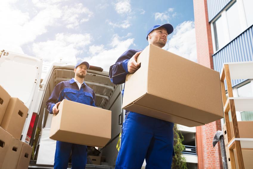 Mitarbeiter beim Transport von Umzugsgütern